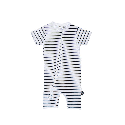 Huxbaby Stripe Short Zip Romper