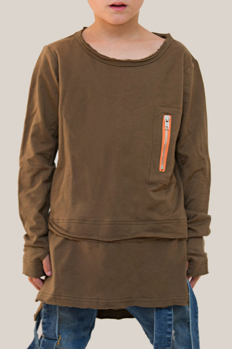 Lil'Mr Luxe Layer Top Khaki/Orange - Threads for Boys