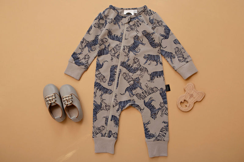 Kapow Kids Tonal Tigers Zip All in one