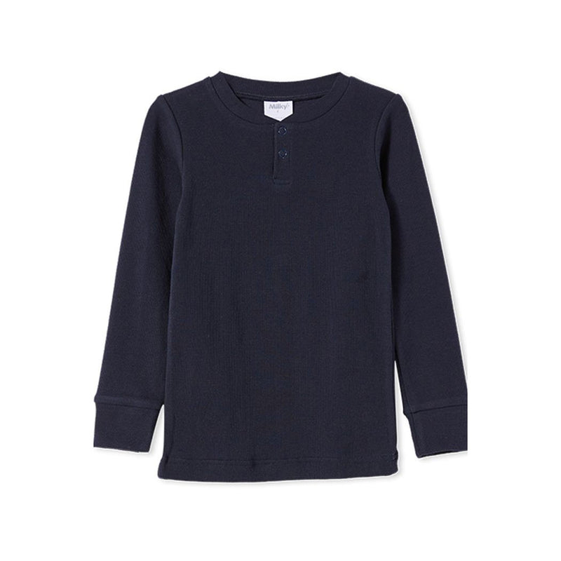 Milky Rib Henley French Navy