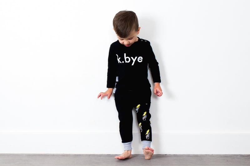 Tiny Tribe Black Peace Sweatpant - Threads for Boys