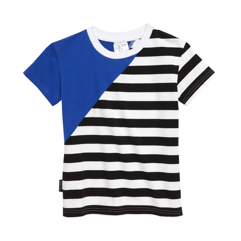 Tiny Tribe Blue Diagonal Segment Tee