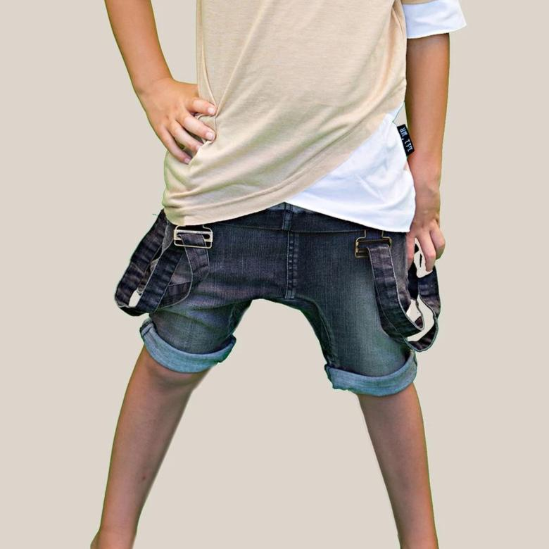 LilMr Grey Fauxverall Shorts - Threads for Boys
