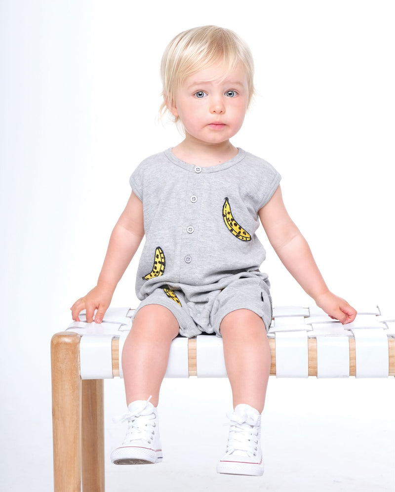 Organic Baby Leopard Banana singlet romper - Threads for Boys