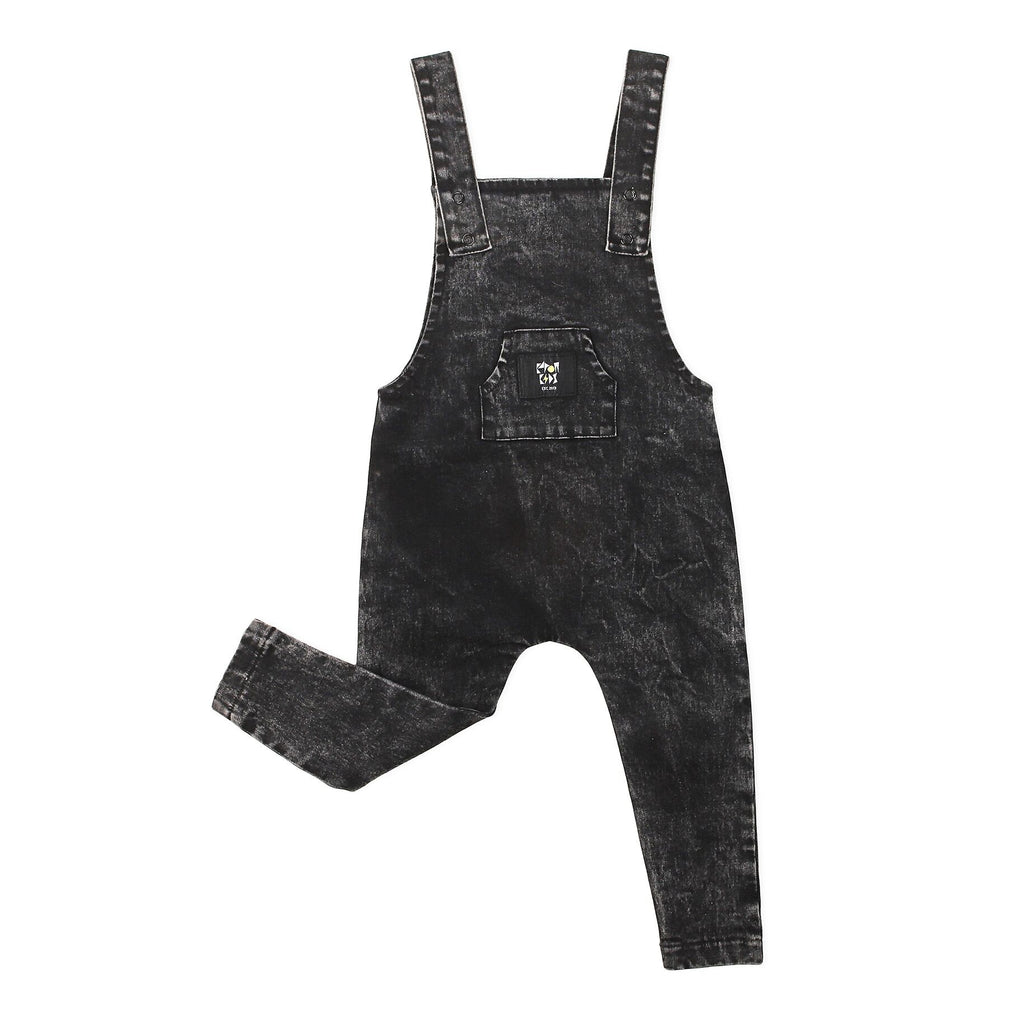 Stretch Denim Overalls Black Acid - Threads for Boys