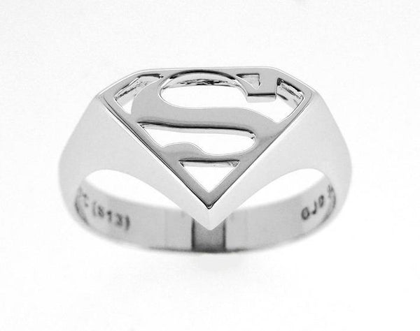 SUPERMAN STERLING SILVER SIGNET RING RHODIUM PLATED- U