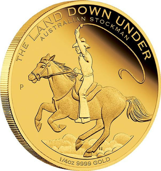 LAND DOWN UNDER – AUSTRALIAN STOCKMAN 2014 1/4OZ GOLD PROOF COIN