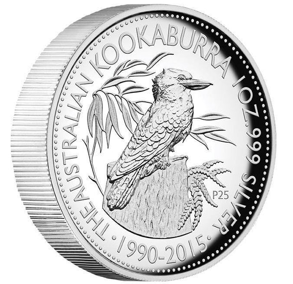 25TH ANNIVERSARY AUSTRALIAN KOOKABURRA 2015 1OZ SILVER PROOF HIGH RELIEF COIN