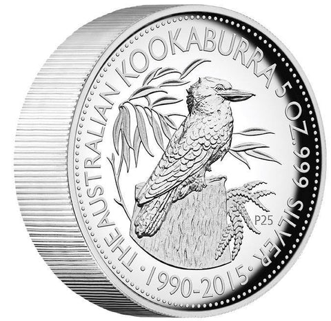 25TH ANNIVERSARY AUSTRALIAN KOOKABURRA 2015 5OZ SILVER PROOF HIGH RELIEF COIN