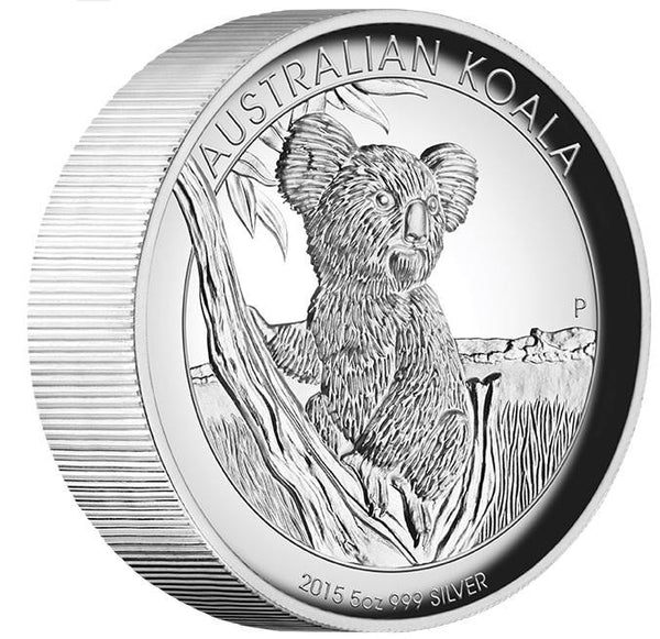 AUSTRALIAN KOALA 2015 5 oz SILVER PROOF HIGH RELIEF COIN