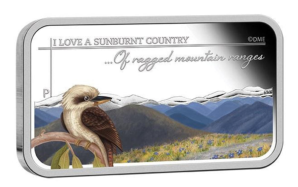 SUNBURNT COUNTRY- OF RAGGED MOUNTAIN RANGES 2015 1OZ SILVER PROOF RECTANGLE COIN