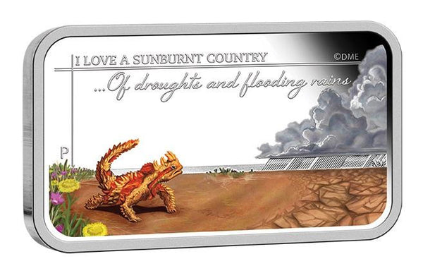 SUNBURNT COUNTRY- OF DROUGHTS AND FLOODING RAINS 2015 1OZ SILVER PROOF RECTANGLE COIN - Kings Comics