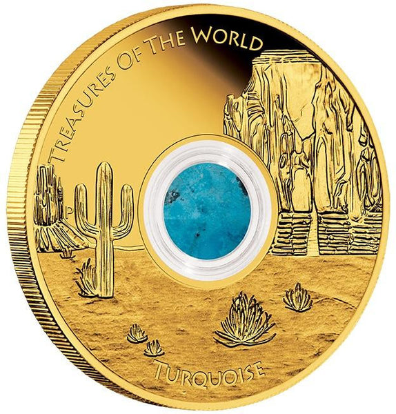 TREASURES OF THE WORLD — NORTH AMERICA 2015 1OZ GOLD PROOF LOCKET COIN WITH TURQUOISE