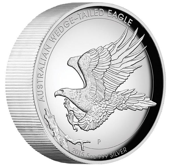 AUSTRALIAN WEDGE-TAILED EAGLE 2015 5OZ SILVER PROOF HIGH RELIEF COIN