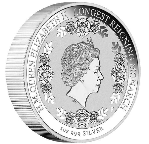 THE LONGEST REIGNING MONARCH HER MAJESTY QUEEN ELIZABETH II 2015 1OZ SILVER INTAGLIO COIN