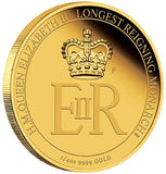 THE LONGEST REIGNING MONARCH HER MAJESTY QUEEN ELIZABETH II 2015 1/4OZ GOLD PROOF COIN