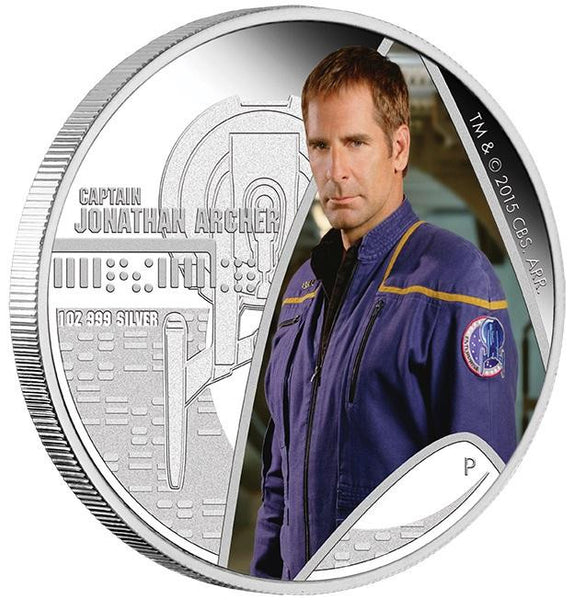 STAR TREK: ENTERPRISE - CAPTAIN JONATHAN ARCHER 2015 1OZ SILVER PROOF COIN