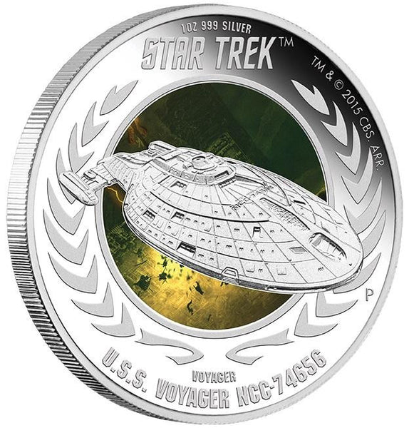 STAR TREK: VOYAGER - U.S.S VOYAGER NCC-74656 2015 1oz SILVER PROOF COIN