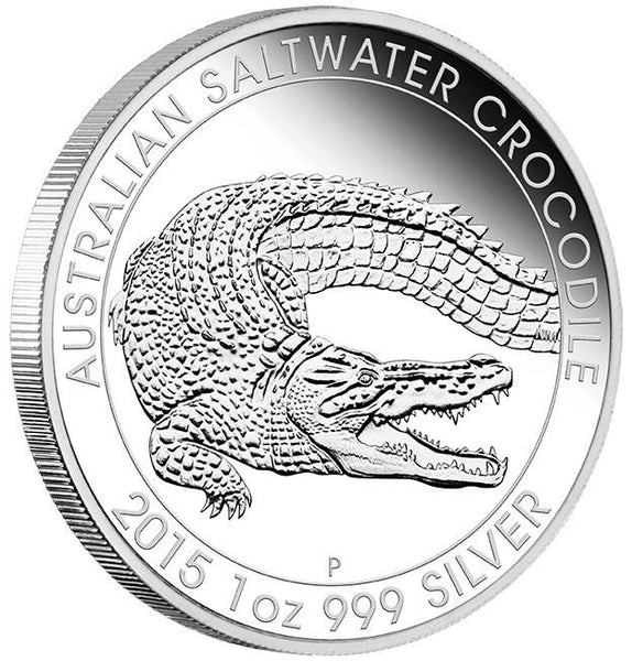 AUSTRALIAN SALTWATER CROCODILE 2015 1OZ SILVER PROOF COIN