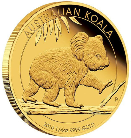 AUSTRALIAN KOALA 2016 1/4 OZ GOLD PROOF COIN