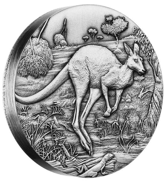 AUSTRALIAN KANGAROO 2016 2oz SILVER HIGH RELIEF ANTIQUED COIN