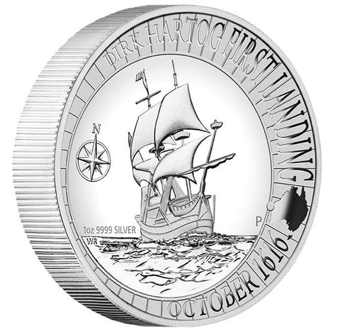 DIRK HARTOG AUSTRALIAN LANDING 1616 - 2016 1 OZ SILVER PROOF HIGH RELIEF COIN