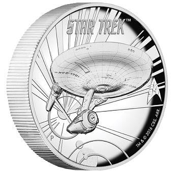 STAR TREK: THE ORIGINAL SERIES USS ENTERPRISE NCC-1701 1oz SILVER PROOF HIGH RELIEF COIN