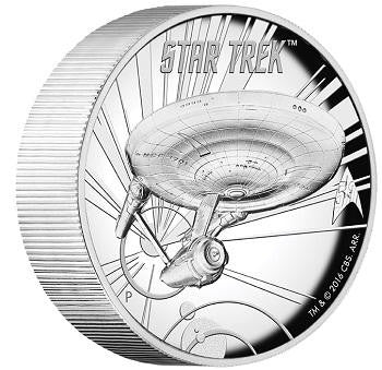 STAR TREK: THE ORIGINAL SERIES USS ENTERPRISE NCC-1701 5oz SILVER PROOF HIGH RELIEF COIN
