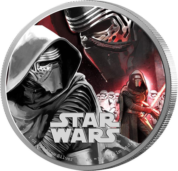 STAR WARS 2016 THE FORCE AWAKENS KYLO REN 2016 1oz SILVER PROOF COIN - Kings Comics