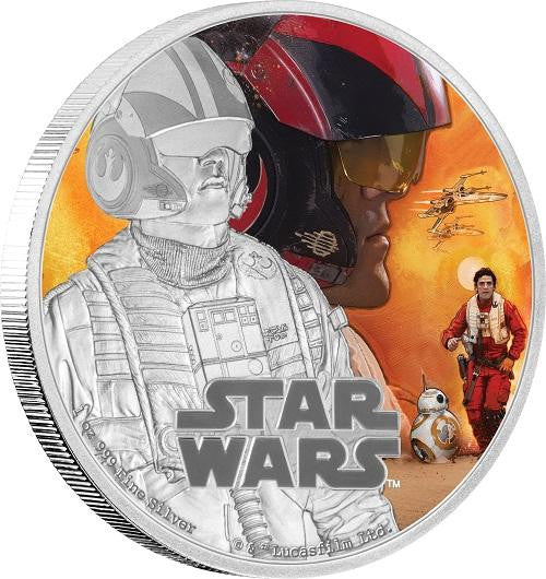 STAR WARS 2016 POE DAMERON 1oz SILVER PROOF COIN