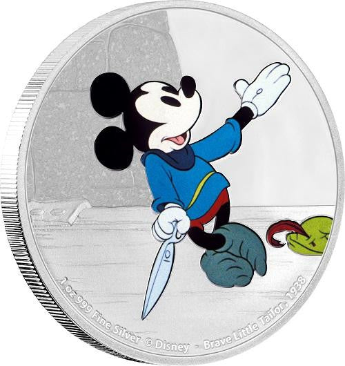 DISNEY MICKEY THROUGH THE AGES - BRAVE LITTLE TAILOR 1oz SILVER COIN