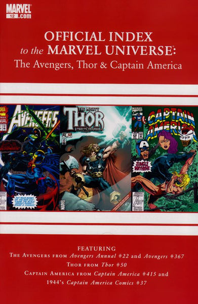 AVENGERS THOR CAPTAIN AMERICA OFFICIAL INDEX #12 - Kings Comics