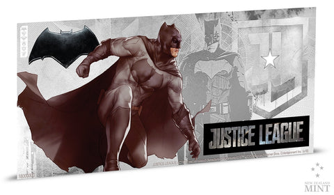 JUSTICE LEAGUE SERIES - BATMAN 5g SILVER COIN NOTE PLUS COLLECTOR'S ALBUM