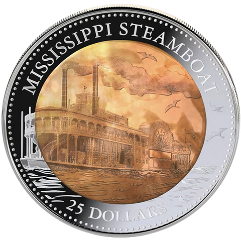 2016 $25 MISSISSIPPI STEAMBOAT MOTHER OF PEARL 5oz SILVER PROOF COIN