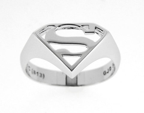 SUPERMAN STERLING SILVER SIGNET RING RHODIUM PLATED - Z