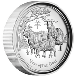 AUSTRALIAN LUNAR SER II 2015 YEAR OF THE GOAT 1oz SILVER PROOF HR COIN