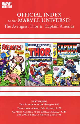 AVENGERS THOR CAPTAIN AMERICA OFFICIAL INDEX #2