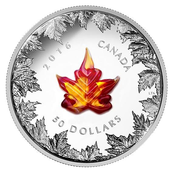 CANADIAN 2016 MURANO MAPLE LEAF: AUTUMN RADIANCE 5 oz SILVER PROOF COIN