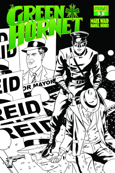 MARK WAID GREEN HORNET #3 15 COPY RIVERA B&W LINE ART INCV - Kings Comics