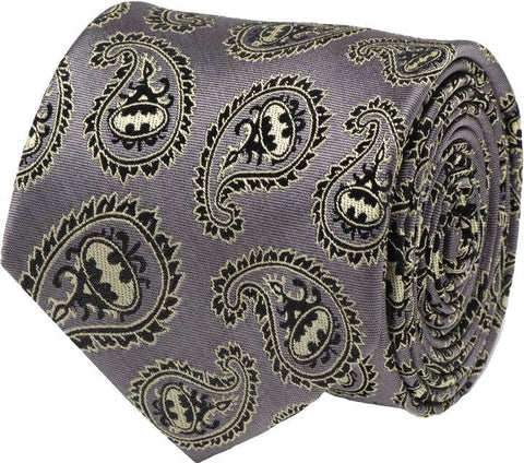 DC BATMAN GRAY AND YELLOW PAISLEY SYMBOL TIE