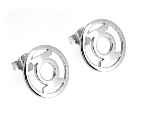 GREEN LANTERN STERLING SILVER EARRINGS STUD