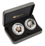 LUNAR GOOD FORTUNE SERIES 2016 YEAR OF THE MONKEY WEALTH & WISDOM 1 oz SILVER 2-COIN SET