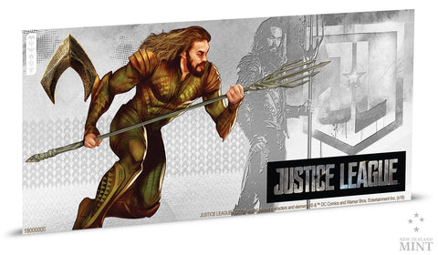 JUSTICE LEAGUE SERIES - AQUAMAN 5g SILVER COIN NOTE