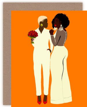 Tangerine Wedding Greeting Card