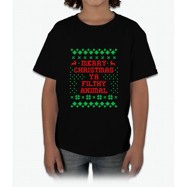 Funny Christmas T-shirt Merry Christmas Ya Filthy Animal Tee Young T-Shirt