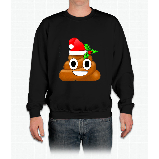 Merry Christmas Holiday Poop Emoji Crewneck Sweatshirt