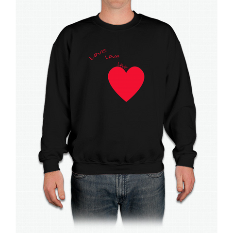 """love Love Love"" Happy Valentine Day Crewneck Sweatshirt"