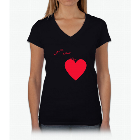 """love Love Love"" Happy Valentine Day Womens V-Neck T-Shirt"