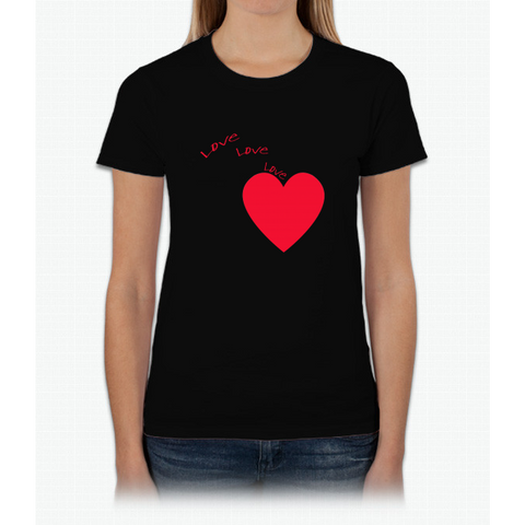 """love Love Love"" Happy Valentine Day Womens T-Shirt"