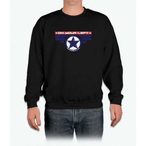 """on Your Left Running Club"" Distressed Print Crewneck Sweatshirt"